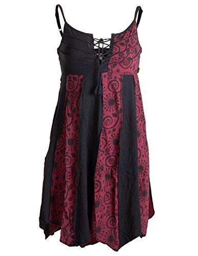 Vishes - Alternative Bekleidung - Zweifarbiges Sommerkleid Trägerkleid aus Baumwolle - Bedruckt schwarz-rot ()