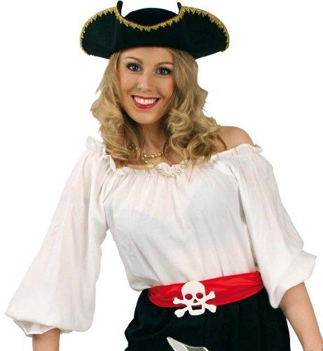 Fasching Karneval Kostüm Piraten-Bluse weiß, Pirat Piratenfrau Piratin: Größe: (Pirat Bluse Weiße)