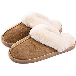 Misolin Mujer Invierno Fur Zapatillas de Estar Cerradas Calienta Pantuflas, para interior o exterior Marrón claro Talla 40-41 EU
