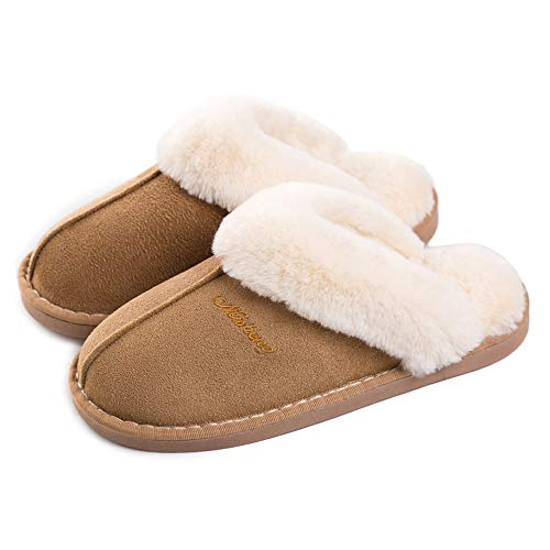 75d18a35a3d61e Womens Slipper Memory Foam Fluffy Slip-on House Suede Fur Lined/Anti-Skid