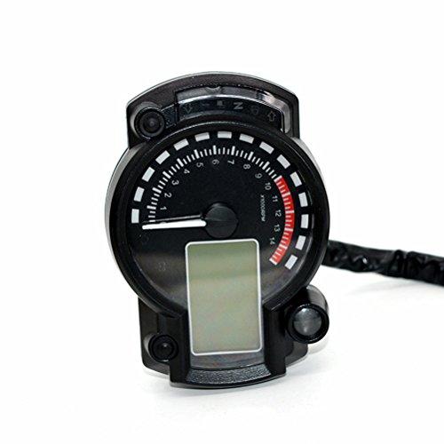 PIXNOR 12V Motorrad Tachometer Kilometerzähler mit Scheinwerfer Drehen Licht Neutral-Indikator