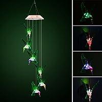 De color cambiante LED Solar móvil de viento, allomn funciona con energía solar LED luz nocturna impermeable 6colibrí viento, para decoración de Navidad al aire libre Garden Party