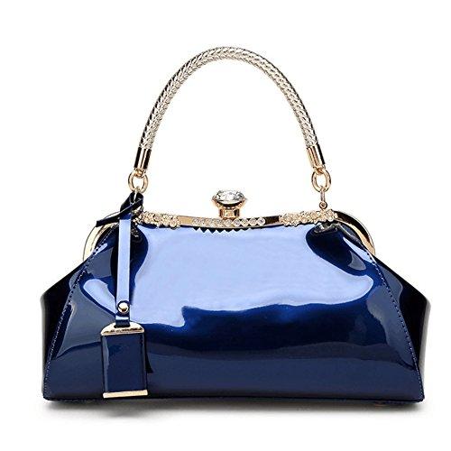ACHAOHUIXI Frauen Patent Shiny Face Leder Glossy Shell Handtasche Kupplungen Schulter Abendtaschen for Party (Farbe : Blau) -