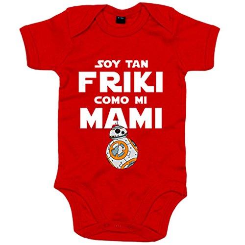 Body bebé Star Wars BB8 Soy tan friki como mami - Rojo, 6-12 meses