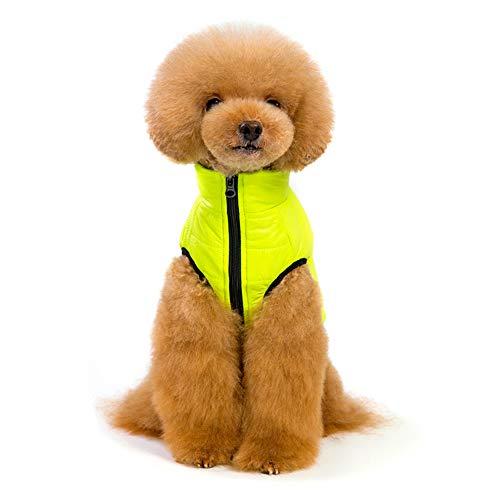 DLDL Hauskleidung Herbst-und Winterkleidung Winddichte Warm-Baumwolle mit Traktion Dog Kleidung Hooded,Yellow,M -