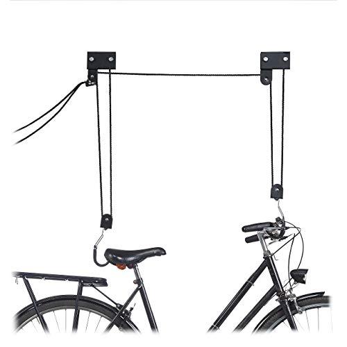 Imagen de Poleas Para Colgar Bicicletas Techo Relaxdays por menos de 35 euros.