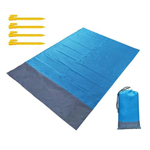 """dream-cool Stranddecke Sanddicht Wasserdicht - 55""""x 78,7"""" Picknickdecke Wasserdicht Hitzebeständige Ripstop Kompakte Strandmatte mit 4 Kunststoffstangen, Ideal für Strandreisen Camping Wandern"""