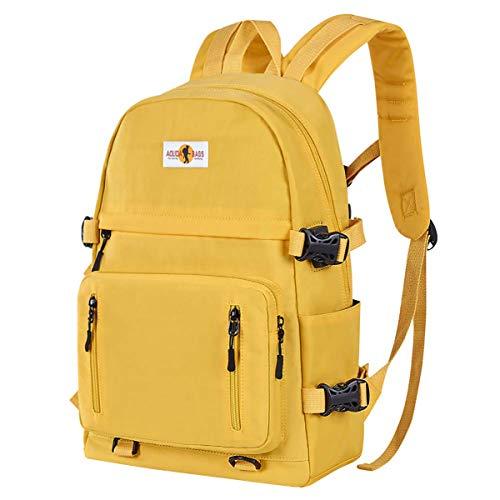 Schulrucksack Rucksack Mädchen Teenager Jungen Laptop Rucksack mit USB-Ladeanschluss Reisetasche mit großem Fassungsvermögen für Damen Herren (Knalliges Gelb)