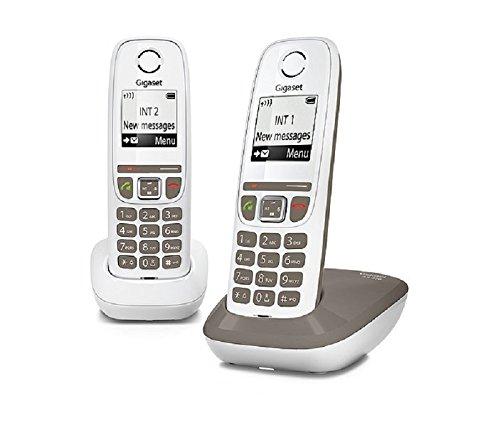 Gigaset AS470 Duo - Teléfono (Teléfono DECT, Terminal inalámbrico, Altavoz, 100 entradas, Identificador de Llamadas, Gris Pardo, Blanco)