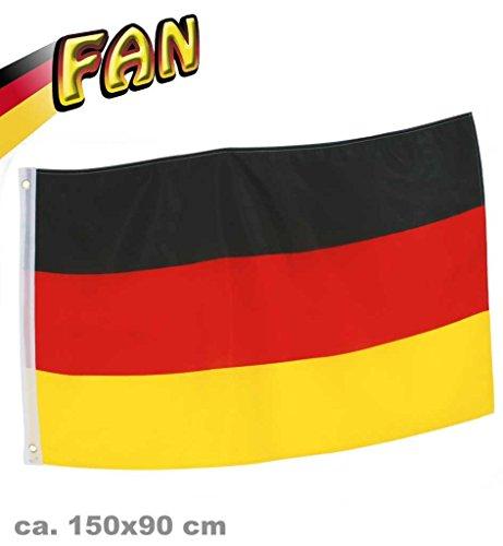 Deutschland Fahne, 90x150cm oder 90x60 cm wählbar, EM, WM, Flagge, mit 2 Messingösen, schwarz-rot-gold, umsäumten Fahnenrand, Hiss Flagge, Fanartikel, Fußballfan, Fan Meile (90x150)