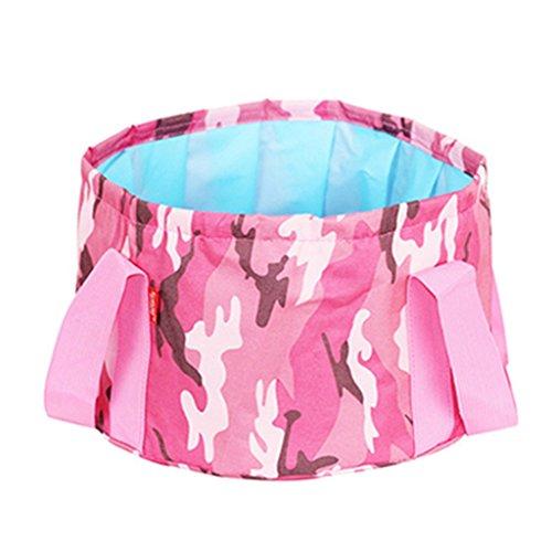 Lavabos de Salle de Bain Lavable Pliable extérieur Voyage Portable Pliant lavabo Voyage extérieur Sac Pliant (Color : Pink 1, Size : 36 * 33 * 18.5cm)