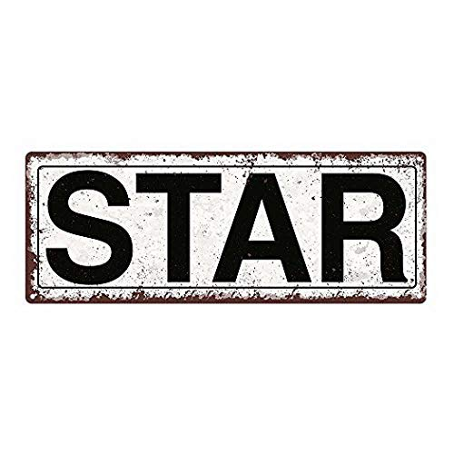 Harvesthouse Star Metal Street Sign, Rustic, Vintage 16 x 6 inches by - Star Street Sign
