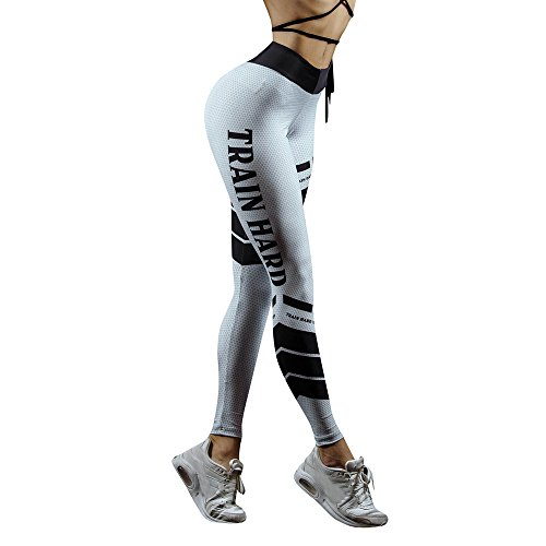 NINGSANJIN Damen Leggings Yoga Capris Lang Hosen Kompression Sport Trainingshose (Weiß,M)