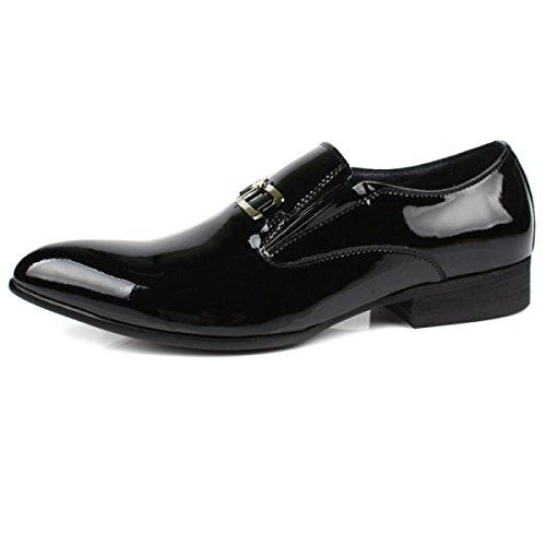 GRRONG Chaussures En Cuir Pour Hommes Robe D'affaires Confortable Black