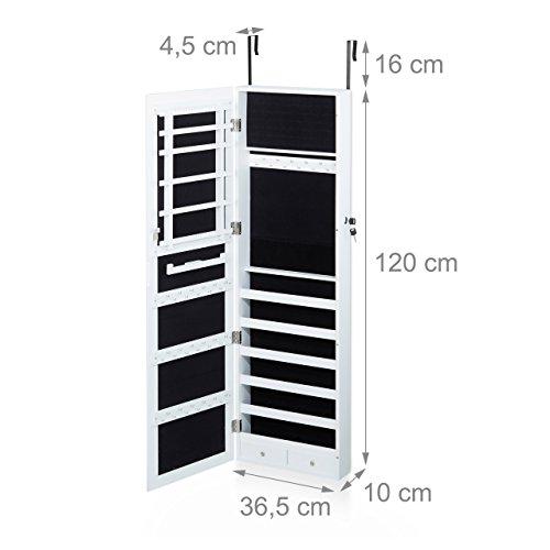 Relaxdays Schmuckschrank mit Spiegel, Spiegelschrank hängend für Ketten, Hängeschrank für Tür, HBT: 120x36,5x10 cm, weiß - 3