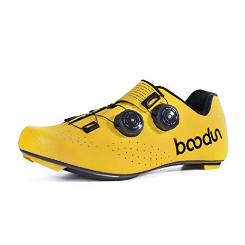 SUN HUIJIE Scarpe da Ciclismo MTB Scarpe da Bici Traspiranti da Uomo Professionali Scarpe da Corsa autobloccanti per Biciclette (Colore : Giallo, Dimensioni : 44 EU)