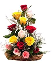 Floralbay Special Basket Arrangement of Mix Roses Fresh Flowers (Bunch of 15)
