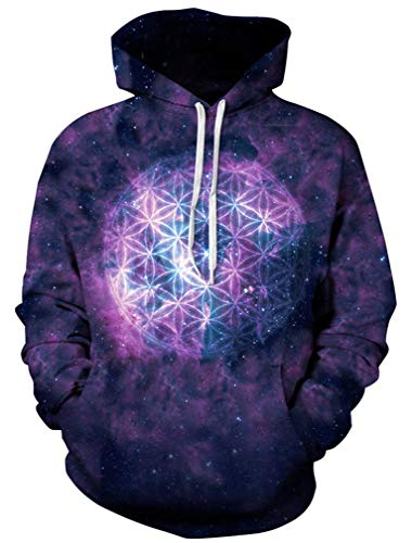 Ocean Plus Herren 3D Kapuzenpullover Hoodie Halloween Cosplay Sweatshirt Hooded Sweat Einzigartig Galaxie Pullover (L/XL (Brustumfang: 114-134CM), Blumenball)