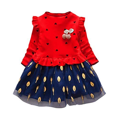Mädchen Kleider Festlich, Weant Baby Kleidung Mädchen Outfits Liebe drucken Tops + Blätter Mesh Röcke Kleider FüR Kinder Mädchen Kleidung Partykleid Chiffon Kleid Baby Tägliche Kleidung Pullover -