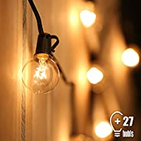 Tomshine Lichterkette Außen 7.62M/25FT G40 Hängend Lichterkette Glühbirne Strombetrieben Warmweiß Wasserdicht Globus Schnur Lichterkette (25 Birnen mit 2 Ersatzbirnen)