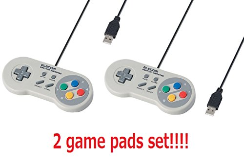 [2 Gamepad Set] Elecom Game Pad 8 Button Super Famicon usb (SNES) Style High endurance button White JC-FR08TWH Japan