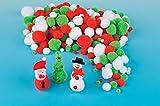 Baker Ross Pack économique de pompons de Noël pour les loisirs créatifs, le collage et les cartes (Lot de 210)...