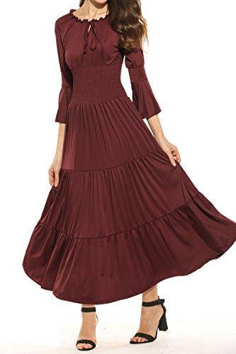 ance Maxikleid Falten Empire Lang Kleid Stretch Tailliert Kurzarm/Langarm Herbst (Renaissance Dame)