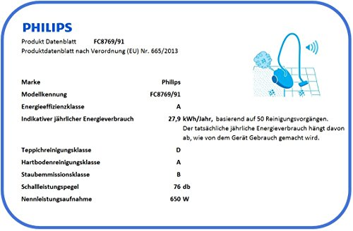 Philips PowerPro FC8769/91 Staubsauger EEK A (beutellos, EPA12 Filter) schwarz -