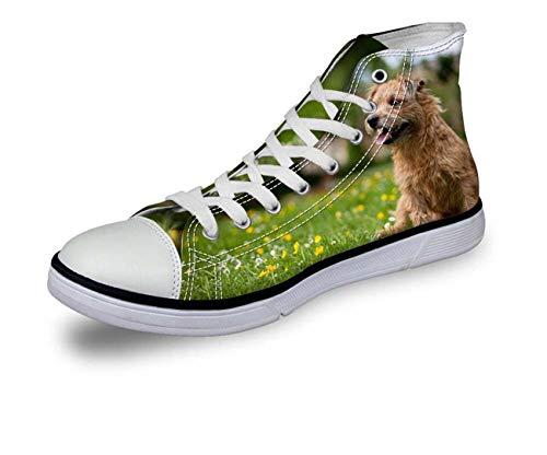 Hi Tops Women Men Comfy High Top Lace Up Boys Flat Trainers Canvas Couple Shoes Green CA5022AK UK 7\u002FEU40 -