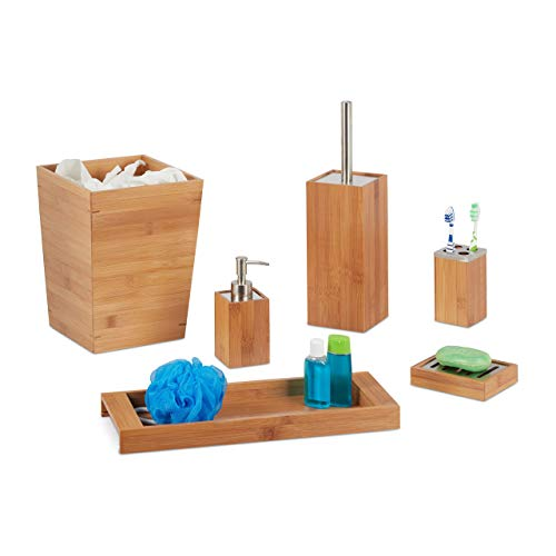 Pack de baño de bambú, dispensador de jabón, Soporte para jabón, Soporte para Cepillo, Vaso para cepillos de Dientes, Bandeja, Cubo de Basura, Natural