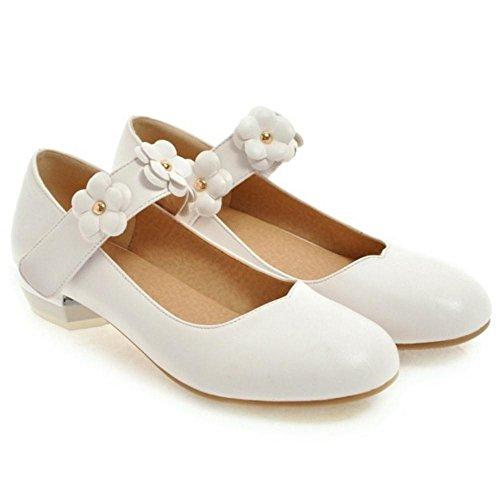 Taoffen Chaussures À Talons Blancs À Tête Ronde Pour Femme
