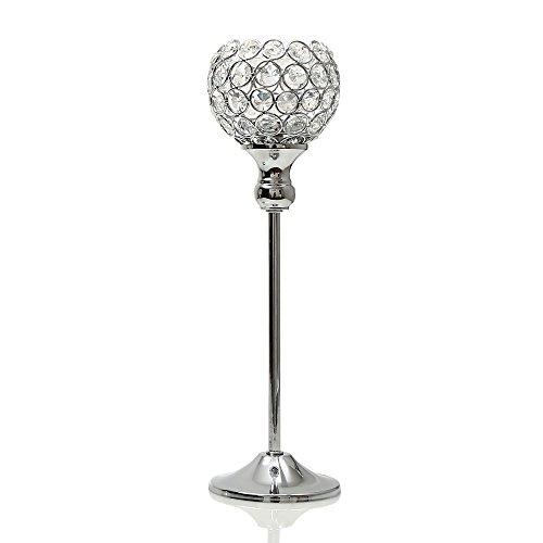 VINCIGANT Silber Kristall Kerzenständer für Hochzeit Feier Esszimmer Dekoration Tabelle Kernstück,35cm Höhe