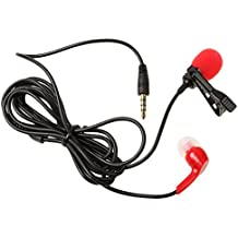 MagiDeal Micrófono de Solapa Lavalier Grabación de Audio para Smartphone Ipad Ipod Touch PC de Color Negro/Rojo - Rojo