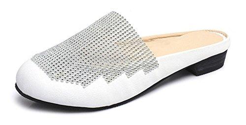 Frau weibliche Sandalen Strass Sandalen und Pantoffeln Pantoffeln Kopf White