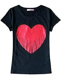 CWCentury Neu Sommer Damen Blouse Freizeit Rundhals Kurzarmshirts Tops  Shirts Fashion Herzförmig Gemustert Oberteile T- fe15b94c22