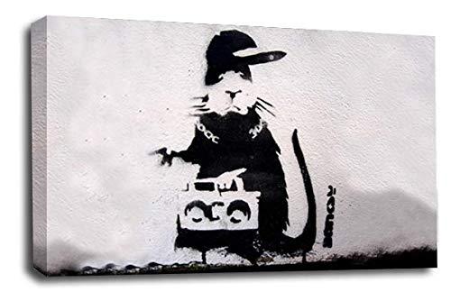 Le Reve Canvas Art Banksy Leinwandbild, 76 x 51 cm, Grau/Weiß / Schwarz