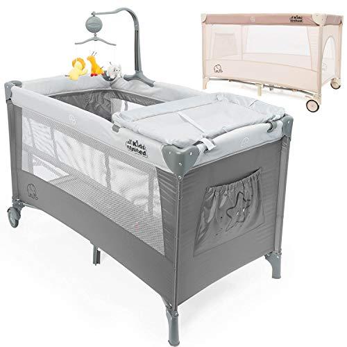 Reisebett Deluxe - Babycenter Kinderreisebett Kinderbett mit Wickelauflage und Mobile; Grau ()