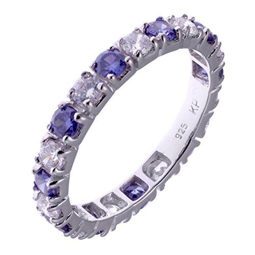Damen Memoire Eternity Ring aus 925 Sterling Silber rhodniert mit Zirkonia 62/19,7 mm groß