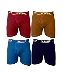 Macho Mens Long Cotton Fine Trunk Pack of 4 (Multi Color ) (Size :85 CM)