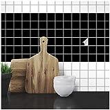 Wandkings Fliesenaufkleber - Wähle eine Farbe & Größe - Schwarz Seidenmatt - 2,2 x 2,2 cm - 20 Stück für Fliesen in Küche, Bad & mehr