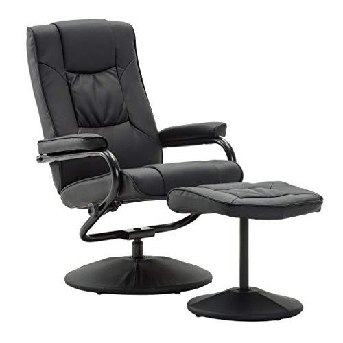 Kitechild Fernsehsessel mit Hocker TV Sessel 360°drehbar Relaxsessel Liegefunktion Wohnzimmersessel Drehstuhl Höhenverstellbar Loungesessel Liegesessel Chefsessel Bürostuhl (Modell 1)