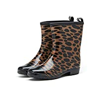 V-DOTE Women Half Wellies Wide Calf Short Welly Wellington Boots Ladies Floral Printed Mid Calf Rain Shoes Leopard Size 5.5