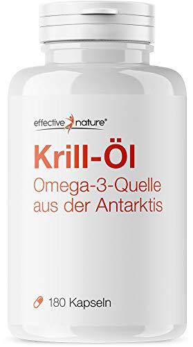 effective nature Krill Öl Kapseln - 180 Kapseln - Sehr hoher Anteil an Omega 3 Fettsäuren
