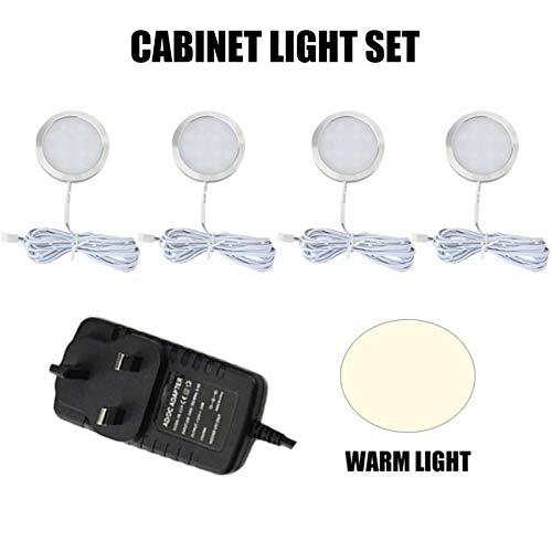 LYYWE LED-Kabinett-Licht-Satz-Raum-Licht-Wein-Kabinett-Licht-rundes Schaukasten-Downlight für Bücherregal-Garderobe-Wohnmobil-Lichter, ANachtlicht -