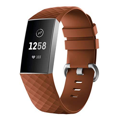 """YaYuu Fitbit Charge 3 Armband, Weiches Silikon Verstellbare Ersatz Zubehör Uhrenarmband Sportarmband Uhrenband für Fitbit Charge 3 /Charge 3 SE Fitness Smart Watch (Klein(5.11\""""- 7.67\""""), braun)"""