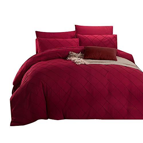 Unimall Bettwäsche Set 200x230 cm mit großartigem kariert Muster Weinrot, pflegeleicht, romantik