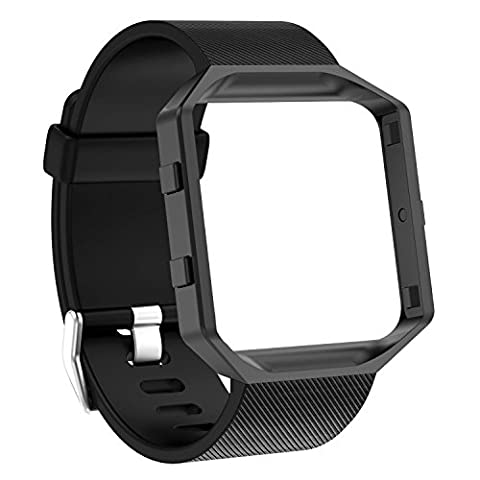 For Fitbit Blaze Band Straps Black, SnowCinda Soft Silicone Replacement Strap Sport Bands with Black Metal Frame For Fitbit Blaze Smart Fitness Watch Large