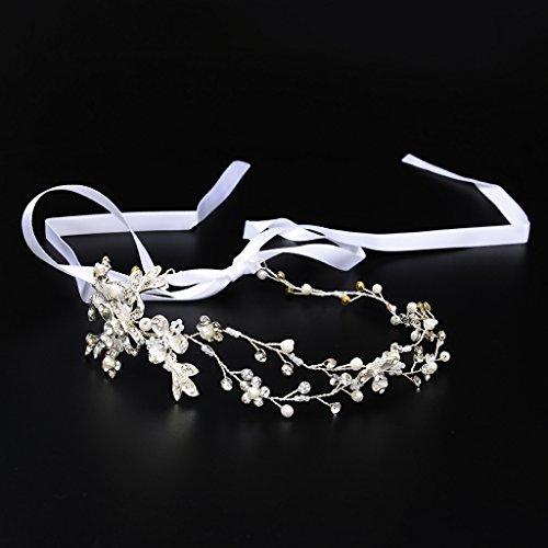 Prettyia Elegantes Blumenkranz Reben Haarband Stirnband Kopfstück Strass Haarreif Hochzeit Haarschmuck - Silber Blumen