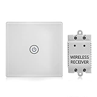 1-Way Wireless Light Switch + Receiver Set Touch Sensor Glass Plate Wireless Remote Control for Ceiling Light LED Lighting