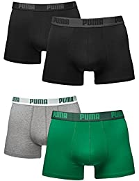 Puma Boxer Basic b8383pinl 4 unidades en diferentes colores 521015001 black (230)/amazon green-grey (075) Talla:L